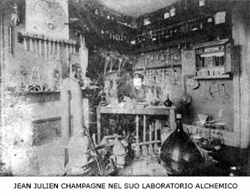 JEAN JULIEN CHAMPAGNE NEL SUO LABORATORIO ALCHEMICO
